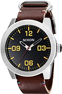 Men's Corporal Series Analog Quartz Watch / Leather or Canvas Band / 100 M Water Resistant and Solid Stainless Steel Case