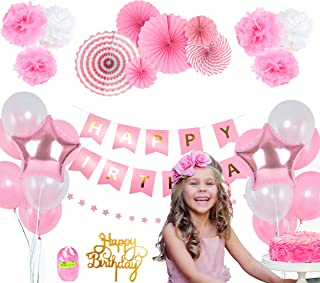Pink Birthday Party Decoration Set – Happy Birthday Banner, Pink Paper Fans, Star Paper Garland, Colorful Balloons, Tissue Pompoms, Cake Topper – 27-Piece Girls Birthday Party Decor Supply Kit