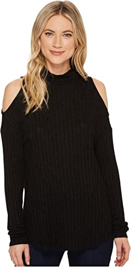 Michael Stars - Jasper Poor Boy Long Sleeve Rib Turtleneck Cold Shoulder