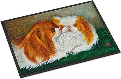 "Caroline's Treasures MH1045JMAT Japanese Chin Best Friends Indoor or Outdoor Mat, 24 x 36"", Multicolor"