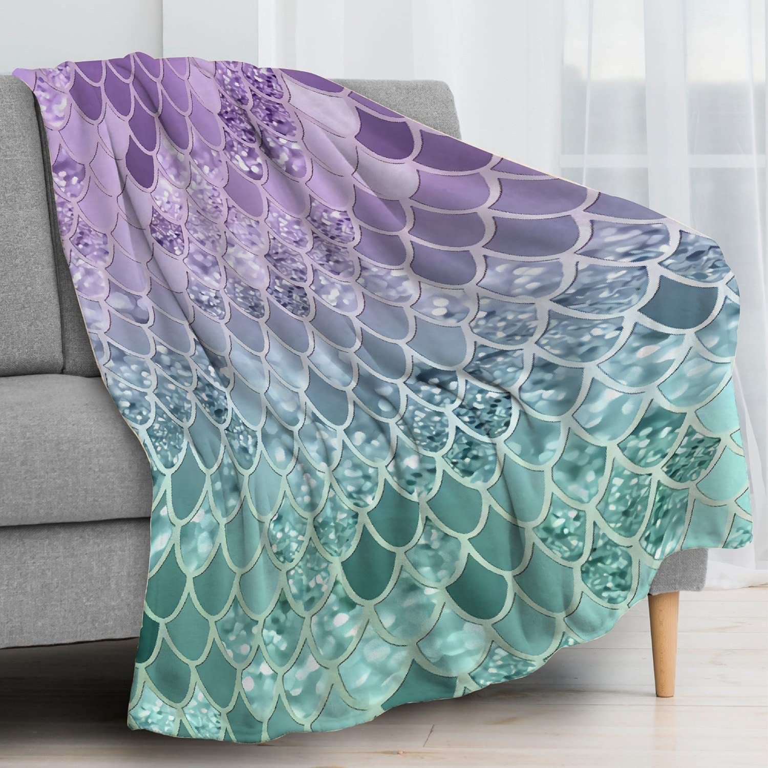 Anomadassi Mermaid Max 70% OFF Scales Flannel Ranking TOP2 Lightweight Size Blanket Throw