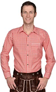 Authentic Bavarian Trachten Shirt Gingham Checkered White red Leather Trousers