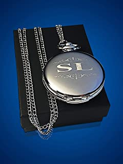 Engraved Pocket Watch, Groomsmen watch with box and chain included, Men's Wedding gift