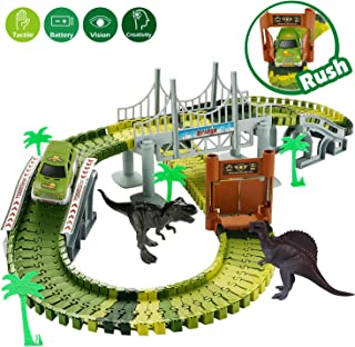 RENWER Dinosaur Toys Create A Road with 142 Pieces Flexible Train Track Playset 2 Dino, Race Track Car Toys for 3, 4, 5, 6 Year Old Boys and Girls Kids Best Gift (Green)