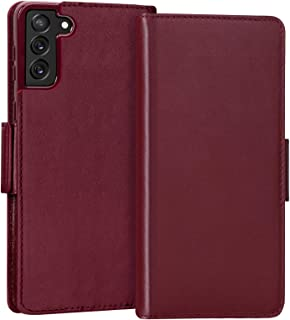 "FYY Samsung Galaxy S21 Case 6.2"", Samsung S21 5G Case, Luxury [Cowhide Genuine Leather][RFID Blocking] Wallet Case Handmad..."