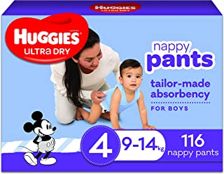 Huggies Ultra Dry Nappy Pants Boy Size 4 (9-14kg) 116 Count