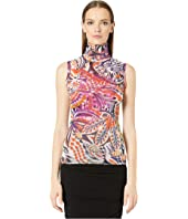 FUZZI - Sleeveless T-Neck Mystical Print
