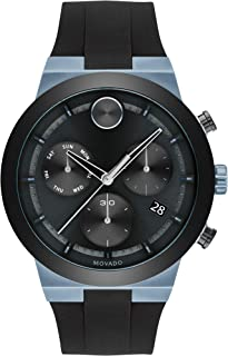 Movado Men's Stainless Steel Swiss Quartz Watch with Silicone Strap, Black, 27 (Model: 3600713)