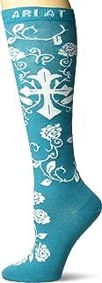 Ariat Women's Over The Calf Scroll Cross Novelty Sock