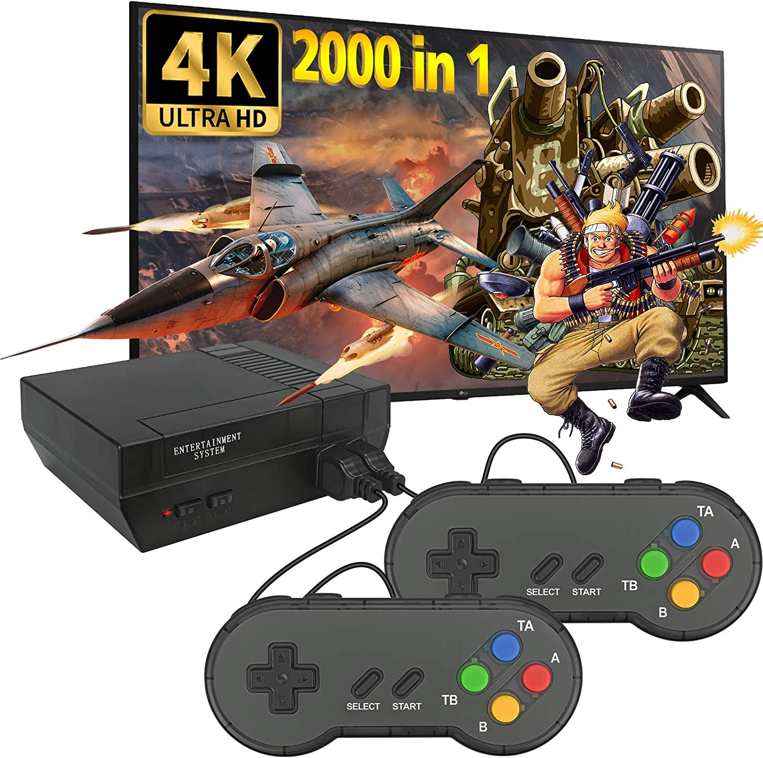 Fadist Retro Game Console, 4K HDMI HD Output Video Game Console, Built in 2000+ Classic Video Games, with 2 Classic Controllers, Plug and Play Games Console, Ideal Gift for Kids, Adult, Friend, Lover