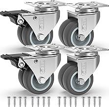 GBL® 4 Zwenkwielen 50mm + Schroeven TPR Rubber | Zwaarlastwielen 400KG - Meubelzwenkwielen Voor Meubels | Zwenkwieltjes vo...