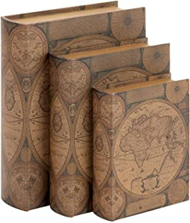 Bellaa 28052 Book Box Old World Map Faux Leather Brown Globe Set of 3