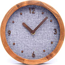 "Driini Burlap Analog Wood Wall Clock (8"") - Battery Operated with Silent Sweep Movement - Decorative, Rustic Wooden Clocks for Bedrooms, Kitchen, Living Room, Office or Classroom"