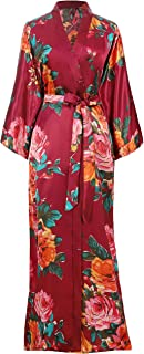 BABEYOND Womens Kimono Robe Long Floral Wedding Robes for Bridesmaids Satin Silk Kimono Nightgown Sleepwear 135cm Long
