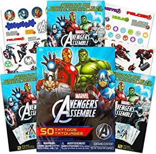Super Hero Tattoos Party Bundle -- 50 Marvel Avengers Super Hero Temporary Tattoos with Avengers Stickers (Party Supplies)