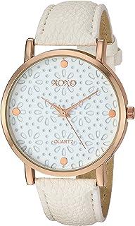 اكس او اكس او ساعة انالوج كوارتز للنساء مع سوار جلد- بيج، 9.1 (XO3492)