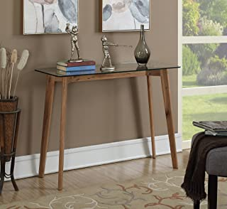 wood glass console table
