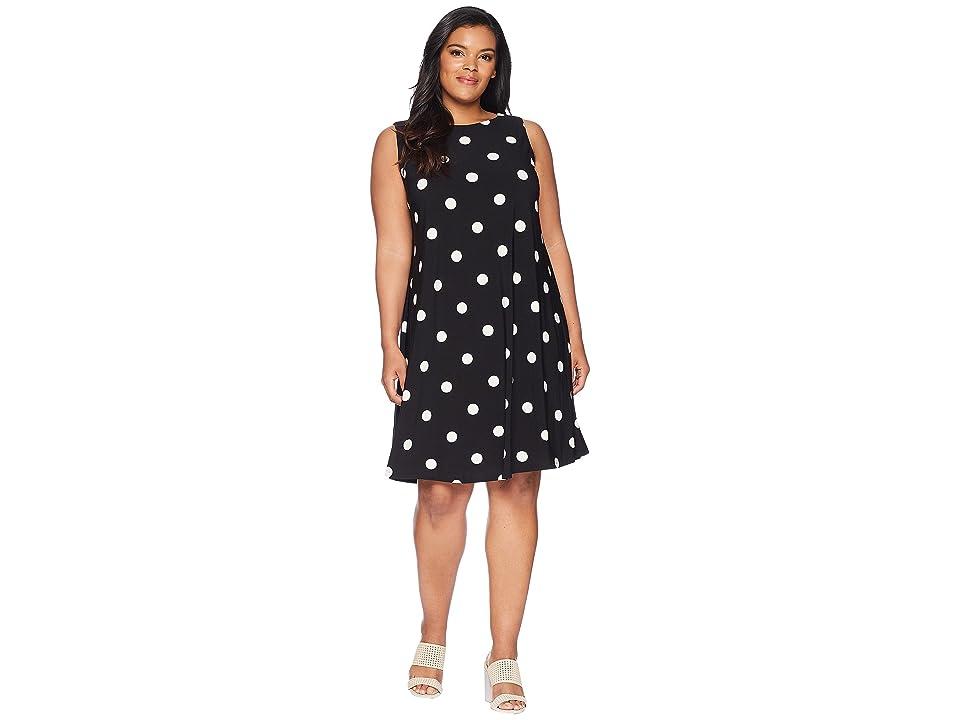 LAUREN Ralph Lauren Plus Size Suzan Penninsula Dot Matte Jersey Dress (Black/Colonial Cream) Women