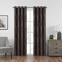 "Eclipse Caprese 52"" x 95"" Insulated Darkening Single Panel Grommet Top Window Treatment Living Room, 52x95, Espresso"
