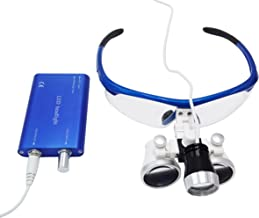 High Quality Colorful Surgical Binocular Loupes Optical Glass Loupe 3.5X420mm with LED Head Light Lamp (Blue)