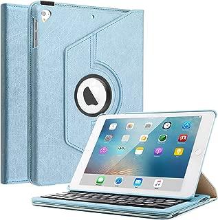 Keyboard Case Compatible iPad 9.7 2018(6th Gen)/iPad 2017/iPad Pro 9.7/iPad Air 2 & 1,Boriyuan 360 Degree Rotating Stand PU Leather Smart Cover with Detachable Wireless Bluetooth Keyboard - Blue