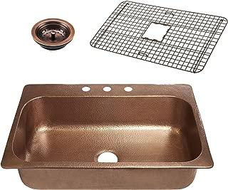 Sinkology SK101-33AC-WG-B Angelico 3-Hole Kitchen Sink, 33