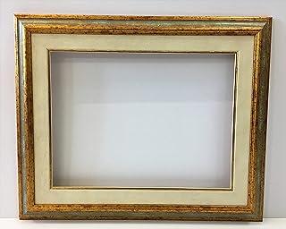 Cornice in legno con passepartout per tela o fotografia-profilo gola liscia argento e oro effetto anticato-interno cm 60 x...