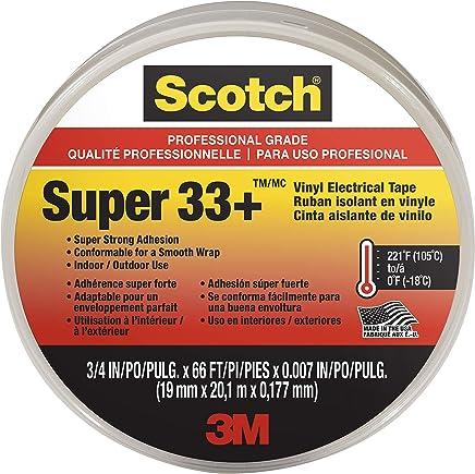 Scotch Super33 610373768089 Super 33+ Vinyl Electrical Tape, 3/4 in x 66 ft, 66', Black