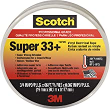 Scotch Super 33+ Vinyl Electrical Tape, 6132-BA-10, 3/4 in x 66 ft x 0.007 in