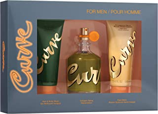 Curve Curve for Men 3 Piece Men's Fragrance Gift Set, 4.2 Oz Eau De Cologne, 3.4 Oz After Shave Balm, and 3.4 Oz Shower Gel, 3 Count