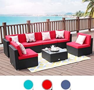 LUCKWIND Patio Conversation Sectional Sofa Chair Table - 7 Piece All-Weather Black Checkered Wicker Rattan Seating Cushion Patio Ottoman Modern Glass Coffee Table Outdoor Accend Pillow 300lbs (RED)