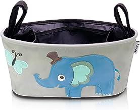 Lifeney Kinderwagen Organizer mit lustigen Tiermotiven I Universeller Buggy Organizer mit verstellbaren Tragehaken I Kinderwagen Zubehör Grau I Tasche für Kinderwagen Elefant blau