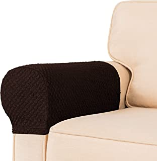 TOYABR Stretch Armrest Cover Seersucker Spandex Armrest Slipcovers Washable Couch Arm Furniture Protector(Chocolate)