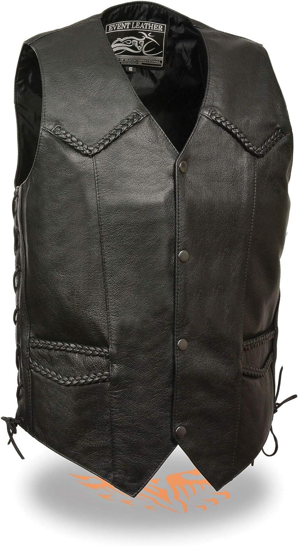 Mens Classic Leather Side Lace Biker Vest with Braiding Black