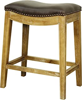 New Pacific Direct Elmo Bonded Leather Counter Stool,Weathered Smoke Legs,Vintage Dark Brown,Fully Assembled