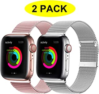 YC YANCH 2 Pack Bands Compatible for Apple Watch 38mm 40mm 42mm 44mm, Adjustable Stainless Steel Mesh Metal Loop Replacement Band Compatible for iWatch Series 5/4/3/2/1
