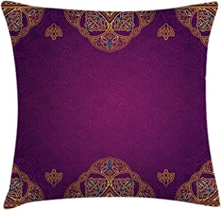 Oriental Throw Pillow Cushion Cover, Eastern Style Ornamental Graphic Lace Pattern on a Background with Floral Swirls, Decorative Square Accent Pillow Case, 24