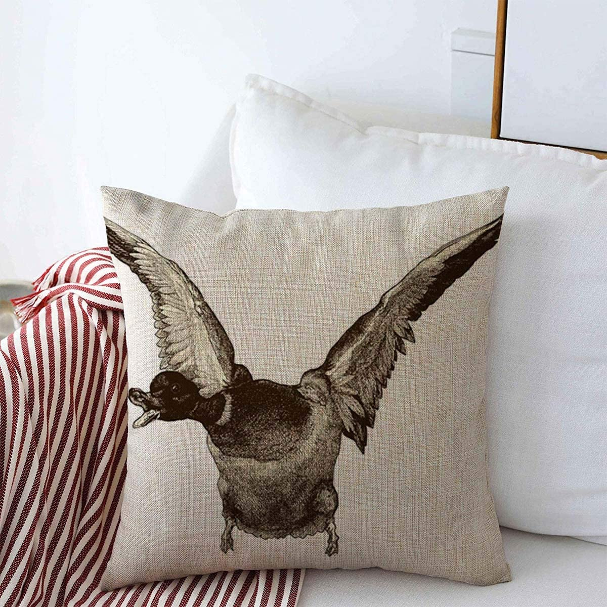 Amazon Com Staroutah Pillow Case Bird Drawing Flying Duck Vintage Engraved La Mosaique Edited By Bourdilliat Paris Wild Retro Farmhouse Decorative Throw Pillows Covers 18 X18 For Couch Decorations Home Kitchen