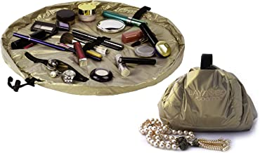 Lay-n-Go Drawstring Makeup Bag – Gold, 20 inch - Travel Cosmetic Bag and Jewelry, Electronics, Toiletry Bag – Perfect Holi...
