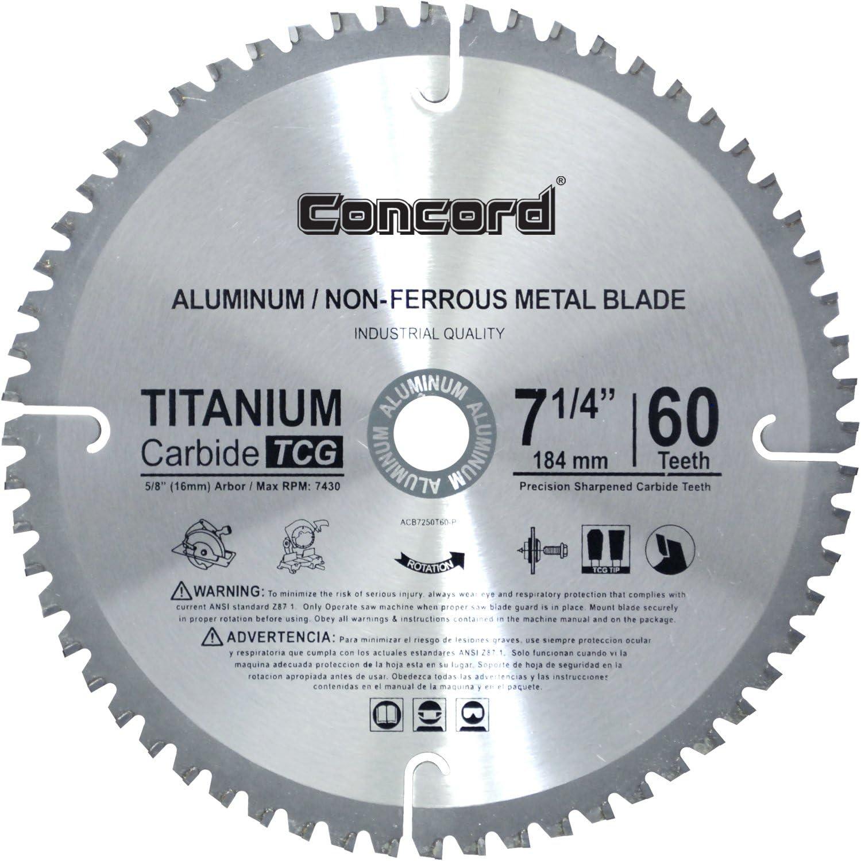 "Concord Blades ACB0725T060HP 7-1/4"" 60 Teeth TCT Non-Ferrous Metal Saw Blade"