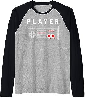 Nintendo Player One Controller Outline  Raglan Baseball Tee