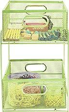 Mind Reader CABASK2T-GRN Sliding Metal Baskets, Cabinet Storage Organizer, Home, Office, Kitchen, Bathroom, One Size, Green 2 Tier Mesh