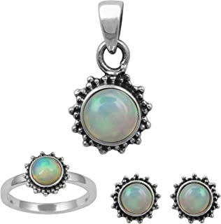 2.45 Cts. Ethiopian Opal Gemstone 925 Sterling Silver Ring Pendant Set For Women