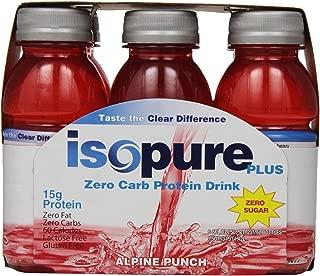 Isopure Plus Zero Carb Protein Drink Alpine Punch, 8 oz. Bottles, 6 count