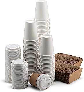 NYHI 200-Pack 8 أوقية أكواب ورقية بيضاء للاستعمال مرة واحدة مع أغطية وأكمام- كوب مشروبات ساخنة/باردة للمياه أو العصير أو ا...