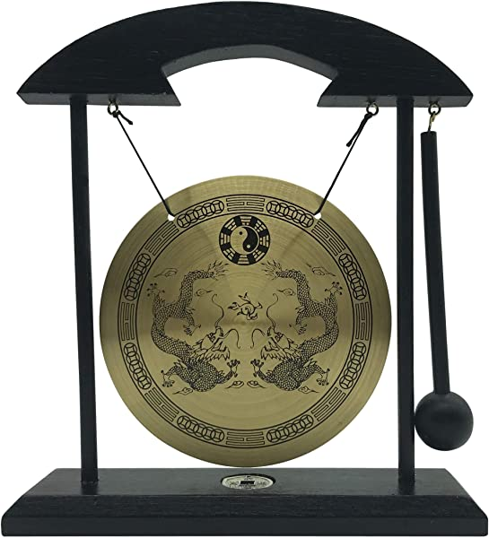 Mose Cafolo Zen Table Gong Dragon With Taiji Symbols Makes Clear Sound For Good Feng Shui Meditation Desk Bell Home Decor Housewarming Congratulatory Blessing Gift