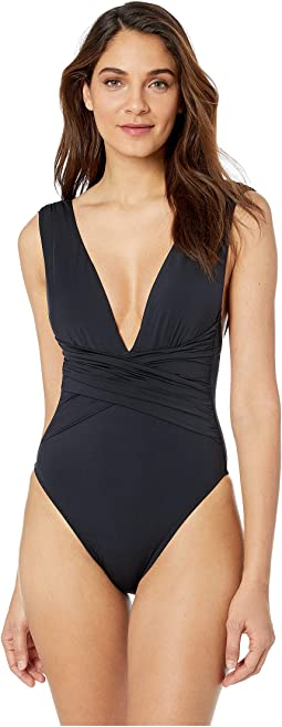 Getaway Solids Wrap Front One-Piece
