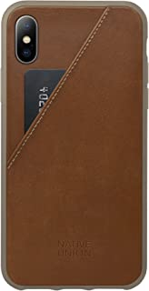 Native Union CLIC Card Case - Genuine Leather Drop-Proof Cover with Card Holder, Screen Bumper Protection and Anti-NFC Collision for iPhone X (Tan)