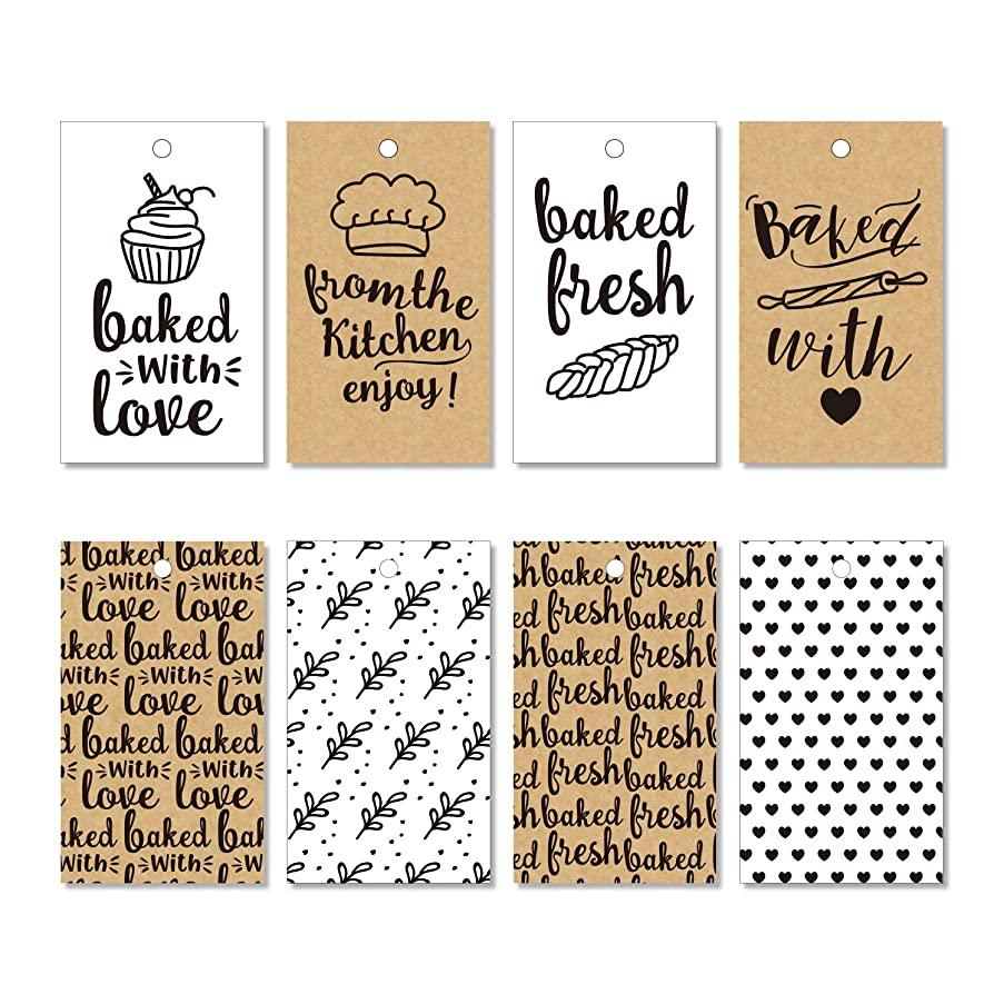 WRAPAHOLIC Gift Tags with String - 120PCS Bakery Gift Paper Tags with 100 Feet Natural Jute Twine for Birthday, Baby Shower, Party Favors