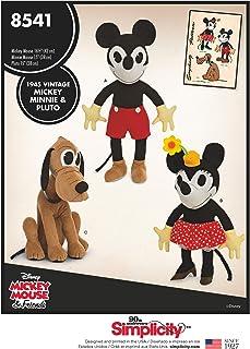 Simplicity Vintage US8541OS Vintage Disney Mickey, Minnie & Pluto Pattern, One Size (One Size)